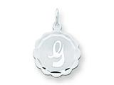 Sterling Silver Brocaded Initial G Charm style: QC4161G