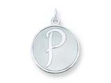 Sterling Silver Brocaded Initial P Charm style: QC4162P