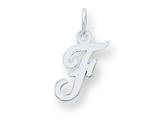 Sterling Silver Small Script Initial F Charm style: QC5080F