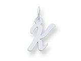 Sterling Silver Small Script Initial K Charm style: QC5080K