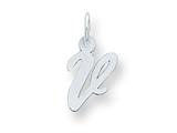 Sterling Silver Small Script Initial V Charm style: QC5080V