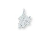 Sterling Silver Small Script Initial W Charm style: QC5080W