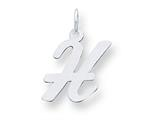 Sterling Silver Medium Script Initial H Charm style: QC5082H