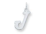 Sterling Silver Medium Script Initial J Charm style: QC5082J