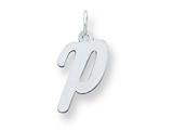 Sterling Silver Medium Script Initial P Charm style: QC5082P
