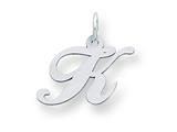 Sterling Silver Small Fancy Script Initial K Charm style: QC5086K