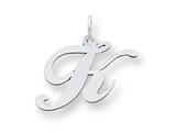 Sterling Silver Medium Fancy Script Initial K Charm style: QC5088K