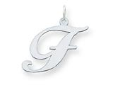 Sterling Silver Large Fancy Script Initial F Charm style: QC5090F