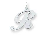 Sterling Silver Large Fancy Script Initial R Charm style: QC5090R