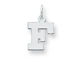 Sterling Silver Small Block Initial F Charm style: QC5093F
