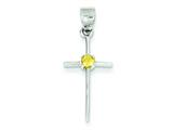 Sterling Silver Citrine Cross Pendant Necklace - Chain Included style: QC5380