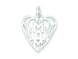 Sterling Silver Mom In Heart Pendant Necklace - Chain Included style: QC598