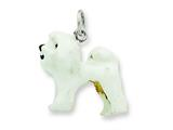Sterling Silver Enameled Bichon Frise Charm style: QC6389