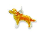 Sterling Silver Enameled Golden Retriever Charm style: QC6437