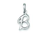 Sterling Silver Initial B Pendant Necklace - Chain Included style: QC6512B