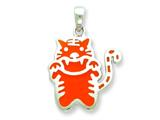 Sterling Silver Resin Orange Cat Pendant - Chain Included style: QC6578