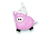 Sterling Silver Cubic Zirconia Pink Enameled Polished Pig Charm style: QC6815