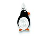 Sterling Silver Cubic Zirconia Enameled Polished Penguin Charm style: QC7016