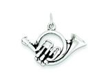 Sterling Silver Antiqued French Horn Charm style: QC7114