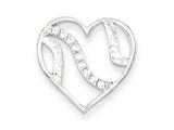 Sterling Silver Cubic Zirconia Heart Pendant - Chain Included style: QC7464