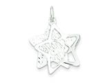 Sterling Silver Polished And Textured Star Pendant Necklace - Chain Included style: QC7638