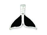 Sterling Silver Black Enameled Large Whale Fin Pendant Necklace Slide - Chain Included style: QC7653