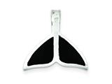 Sterling Silver Black Enameled Medium Whale Fin Pendant Necklace Slide - Chain Included style: QC7654