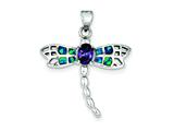 Sterling Silver Blue Inlay Created Opal Dragonfly Oval Amethyst Pendant - Chain Included style: QC7689