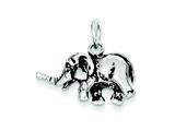 Sterling Silver Antiqued Elephant Charm style: QC7876