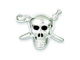 Sterling Silver With Enamel Skull With Cross Bones Pendant - Chain Included style: QC7878