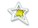 Sterling Silver Polished Star Citrine Pendant Necklace - Chain Included style: QC7891