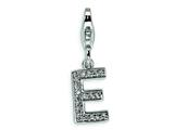 Amore LaVita™ Sterling Silver CZ Initial Letter E w/Lobster Clasp Bracelet Charm style: QCC105E