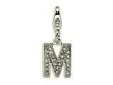 Amore LaVita™ Sterling Silver CZ Initial Letter M w/Lobster Clasp Bracelet Charm style: QCC105M