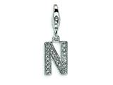 Amore LaVita™ Sterling Silver CZ Initial Letter N w/Lobster Clasp Bracelet Charm style: QCC105N