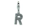 Amore LaVita™ Sterling Silver CZ Initial Letter R w/Lobster Clasp Bracelet Charm style: QCC105R