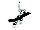 Amore LaVita™ Sterling Silver 3-D CZ Ribboned Diploma w/Lobster Clasp Charm (Fabric ribbon) for Charm Bracelet style: QCC109