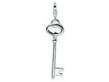 Amore LaVita™ Sterling Silver Polished Open Oval Heart Key w/Lobster Clasp Bracelet Charm style: QCC140
