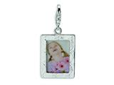 Amore LaVita™ Sterling Silver Polished Picture Frame w/Lobster Clasp Charm (Can insert photo) for Charm Bracelet style: QCC165