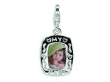 Amore LaVita™ Sterling Silver Polished My Baby Frame w/Lobster Clasp Charm (Can insert photo) for Charm Bracelet style: QCC166