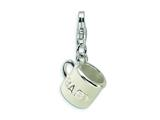 Amore LaVita™ Sterling Silver 3-D White Enameled Baby Cup w/Lobster Clasp Bracelet Charm style: QCC175