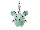 Amore LaVita™ Sterling Silver 3-D Enameled Grey Mouse w/Lobster Clasp Bracelet Charm style: QCC182