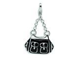 Amore LaVita™ Sterling Silver 3-D Enameled Black Handbag w/Lobster Clasp Bracelet Charm style: QCC226