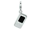 Amore LaVita™ Sterling Silver 3-D Enameled Cell Phone w/Lobster Clasp Bracelet Charm style: QCC227