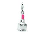 Amore LaVita™ Sterling Silver 3-D Enameled Swarovski Crystal Pink Lipstick w/Lobster Clasp for Charm Bracelet style: QCC244