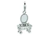 Amore LaVita™ Sterling Silver 3-D Vanity w/Lobster Clasp Bracelet Charm style: QCC259
