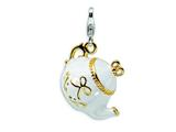 Amore LaVita™ Sterling Silver 3-D Enameled Tea Pot w/Lobster Clasp Bracelet Charm style: QCC268
