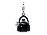 Amore LaVita™ Sterling Silver 3-D Enameled Black Tea Kettle w/Lobster Clasp Bracelet Charm style: QCC272