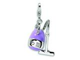 Amore LaVita™ Sterling Silver 3-D Enameled Vacuum Cleaner w/Lobster Clasp Bracelet Charm style: QCC275