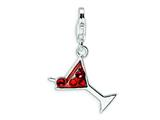 Amore LaVita™ Sterling Silver Cocktail Glass w/Lobster Clasp Bracelet Charm style: QCC338