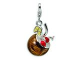 Amore LaVita™ Sterling Silver 3-D Enameled Pina Colda w/Lobster Clasp Bracelet Charm style: QCC342